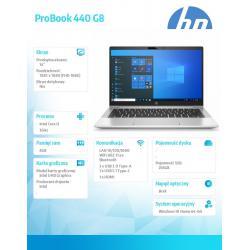 Notebook ProBook 440 G8 i3-1115 256/8G/W10H/14   2E9G4EA