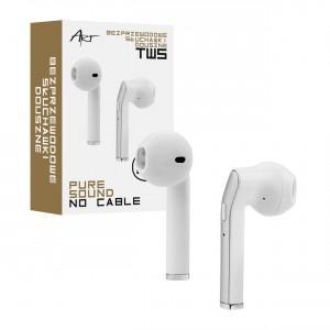 Słuchawki BT z mikrofonem TWS (microUSB)  Białe/srebrne
